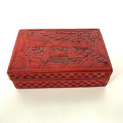 Nice Antique Vintage Chinese Carved Cinnabar Box