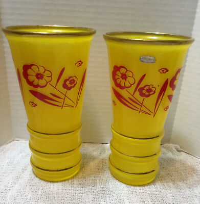 Lot 2 Matching Western Germany Glass Vases Yellow Gold Trim & Red Floral Design