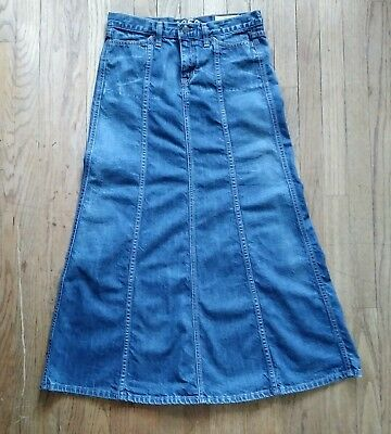 Gap 1969 Women's Size 2 Long Seamed Denim Jean Modesty Skirt Dark Wash Front Zip