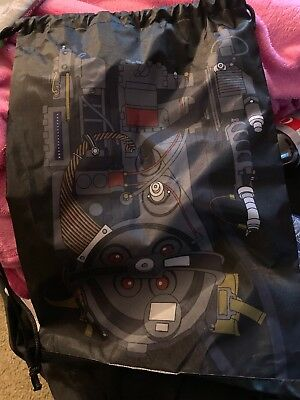Loot Crate Ghostbusters Drawstring Backpack Bag NEW W/ DND Figure Inside