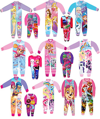 Kids All in One Girls Fleece Novelty Character Childrens Pyjamas Sleepsuit