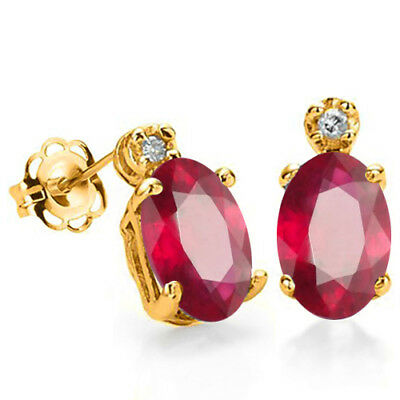 1.26 Ct African Ruby & Diamond (Vs Clarity) 10Kt Solid Gold Tiny Stud Earrings