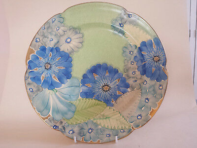 Vibrant Art Deco Grays scalloped edge A4116 (31cm) Plate Hand Painted & Gilded