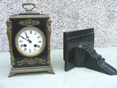 Antique Jappy Freres Wooden And Gilt Bracket Clock And Wooden Bracket