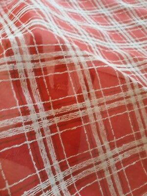 Vintage red and white plaid sheer FLOCKED Fabric 1950's  - 1960's 10 Yards