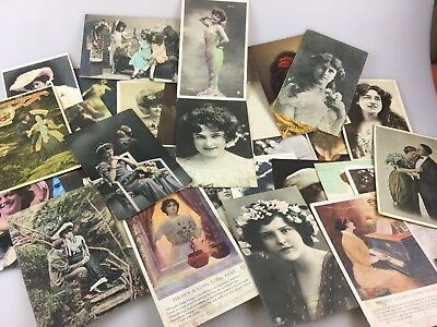 Vintage - Lot Of 32 Postcards - Ladies - & Children - Early 1900's