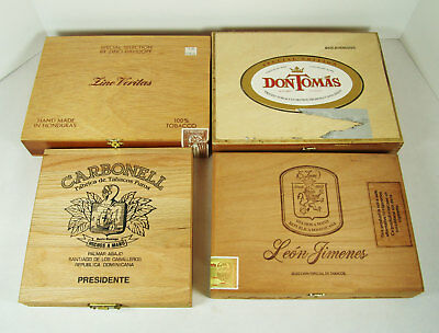 Cigar Boxes Wooden Empty Lot of 4 Mixed Various Crafts Storage Imported