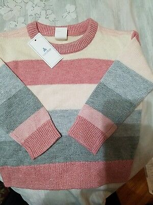 BABY GIRL: Baby Gap Striped Sweater, Pink & Gray, 12-18 Months