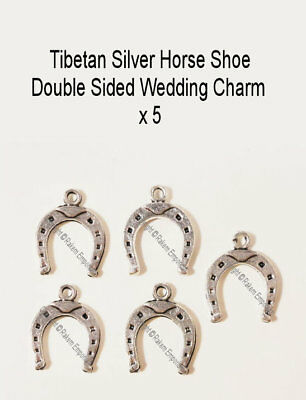 Horse Shoe Tibetan Silver Wedding Charm x 5 Jewellery Making Finding HSWC1