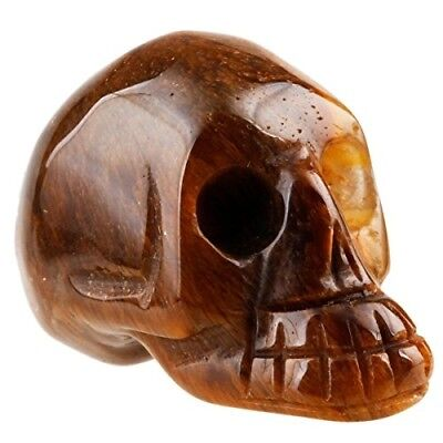 "1.5"" Yellow Tiger's Eye Stone Carving Skull Statues Pocket Healing Figurine"
