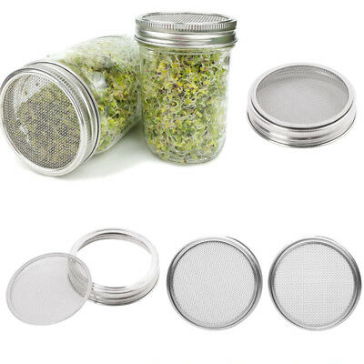 2 pcs Stainless Steel Sprouting Strainer Lids Screen for Wide Mouth Mason Jars
