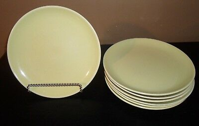 """(7) Iroquois China Russel Wright CASUAL AVOCADO YELLOW 9"""" Luncheon Plates"""