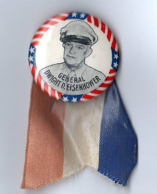 1952 General Dwight D Eisenhower Presidential Campaign Pinback Button & Ribbon