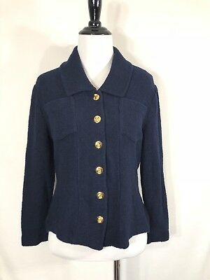 Vintage St. John Collection Gold Turnlock Buttons Navy Knit Blazer Cardigan 6