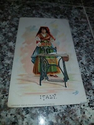 1892 Singer Sewing Machine Victorian Trade Card Of Italy Naples