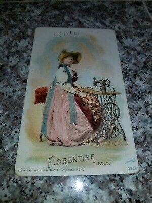 1894 Singer Sewing Machine Victorian Trade Card Of Florentine Italy