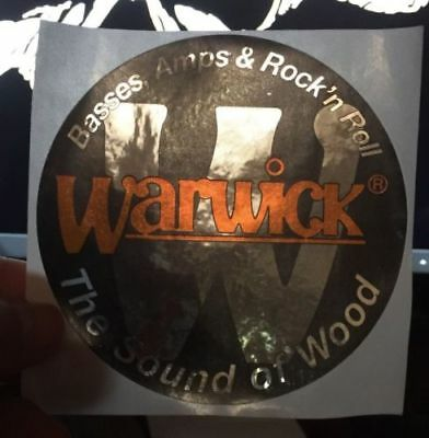 """WARWICK BASS AMPS ROCK 'N ROLL METALLIC 4"""" STICKERS TWO (2) (Old Style) DECALS"""