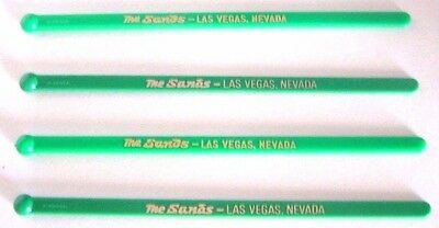 Sands Hotel Las Vegas 4 Green Drink Stirrers Swizzle Sticks New Condition