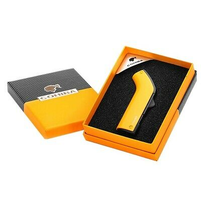 COHIBA Yellow Metal Cigar Cigarette Lighter With Punch 2 Torch Jet Flame