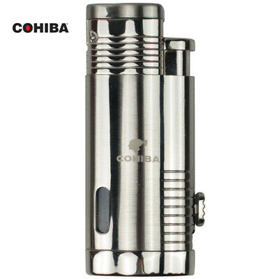 COHIBA Chrome Metal Silver Cigar Cigarette Lighter Torch Jet Flame W/Punch