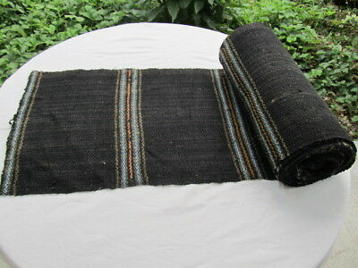 Antique Primitive Old Homespun Woolen Fabric Roll Black More Than 10 Yards Wool