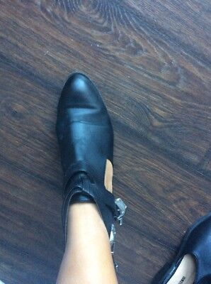Womens Black Cut-Out Ankle Boots Silver Buckle Cuban Heel Multi Strap Size 8