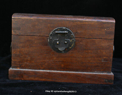21CM Collect Chinese Rosewood Handmade jewelry box case wooden sculpture QFHK