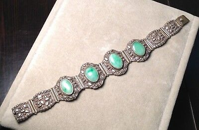 Antique CHINESE Silver JADE BRACELET