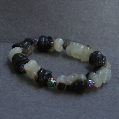 Chinese Exquisite Hand-carved character Carving Hetian jade Bracelet