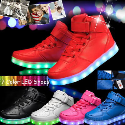 Unisex Adult LED Light Up Luminous Shoes High-tops Casual Sneakers Trainers GIFT