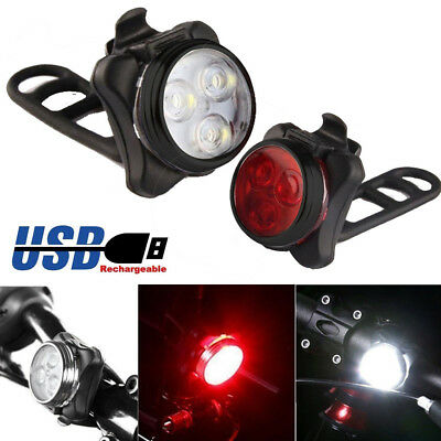 Cycling Bicycle Bike 3 LED Head Front With USB Rechargeable Tail Clip Light Lamp