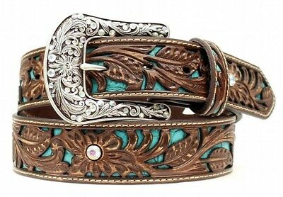 Ariat Women's Brown Leather Western Belt with Turquoise Inlay