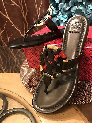 3e03bd74e570ef NIB Authentic TORY BURCH Miller Embroidered Sandal in Black Multi Sz 7.5 Us