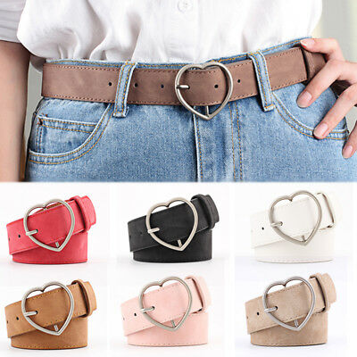 1PC PU Adjustable Frosted Leather Heart Shape Pin Buckle Belt Waist Band Female