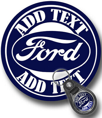 "Personalized Vintage Ford Garage 12"" Round Aluminum Sign with Matching Key Ring"
