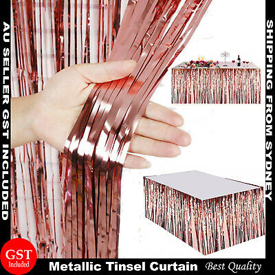 Rose Gold Metallic Tinsel Curtain Foil Backdrop Pom Poms Streamers Hen Party Dec