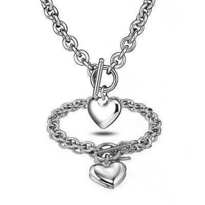 Women Silver Stainless Steel rolo Chain Solid Heart Toggle Necklace Bracelet Set