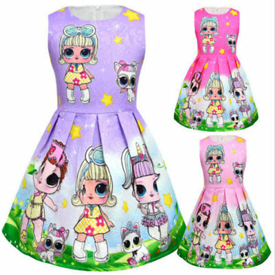 Girls Lol Surprise Doll Princess Dress Kids Party Holiday Birthday Dress