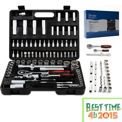 "94PC 1/2"" 1/4"" Socket Set Ratchet Driver Kit Screwdriver Bit Tool Torx With Case"