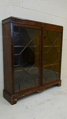 Period glass fronted bookcase cabinet
