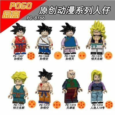New Dragon Ball Minifigs Goku Raditz Trunks Goten Tien Shinhan Krillin Fit Lego