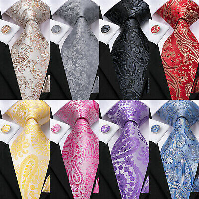 Paisley Mens Silk Tie Set Necktie Blue Red Purple Pink Classic Wedding Business