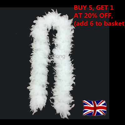 Quality White Feather Boa Flapper Hen Night Burlesque Dance Party Show Costume#