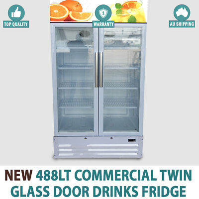 NEW 488Lt Commercial Twin Glass Door Drinks Fridge Chiller Beer Refrigerator