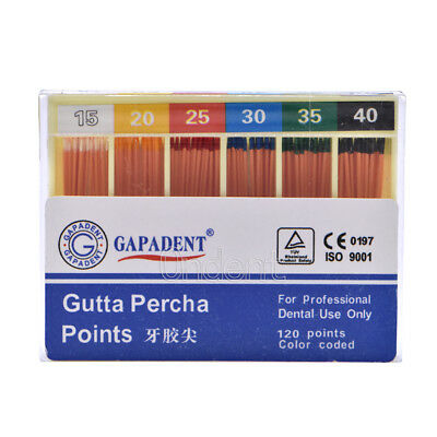 GAPADENT Dental Gutta Percha Points 0.02 15-40# 120Pc/kit Color Coded FDA CE