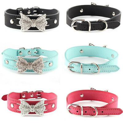 Small Pet Dog Bowknot Collar Bling Crystal PU Leather Puppy Cat Necklace Choker