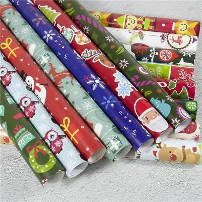 Christmas Wrapping Paper Gift Present Tree Santa Wrap Decorative Roll