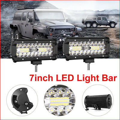 2x 7inch LED Work Light Bar Combo Beam Offroad Driving SUV 4WD 4x4 Reverse Lamp