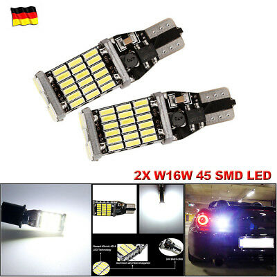 2X W16W 45 SMD LED T15 12V CANBUS Kalt Weiß Hell Innenraumbeleuchtung Standlicht