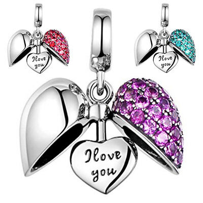 Love Heart Charm - S925 Sterling Silver Bracelet Bead I Love You Christmas Gift